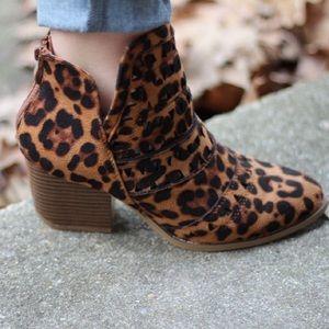 Shoes - Trisha Side-Cut Suede Leopard Booties